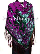 Emerald & Amethyst Piano Shawl Wrap Scarf Silk Burnout Velvet Maya SHAWLS