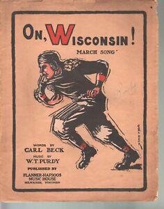 On Wisconsin Original 1910 large format edition Football Sheet Music