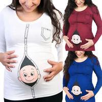 Maternity Wear Baby Printed Long Sleeve Cute Top Funny T-Shirt Pregnant Women GI