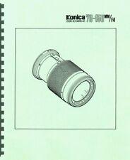 Konica Zoom Hexanon AR 70-150mm F4 Lens Service & Repair Manual Reprint