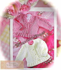 Knitting Pattern Baby's 'Cable & Lace' Cardigans. 2 Styles & 6 Sizes. JUST £1.79