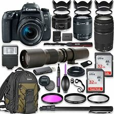 Canon EOS 77D DSLR Camera with (4) Lenses and Accessories