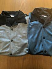 7 Diamonds Men's Shirts Adult L Blue And Gray Black Back Button Collar Short Slv