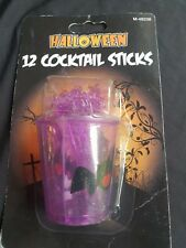 Halloween Partyware - Plastic Reuseable Cocktail Sticks and Bat Cup