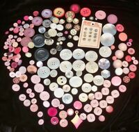 193 Pink Crystal Vintage Antique to Now Sewing Buttons Mother Pearl lot