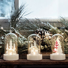 Set of Three Battery Operated Light Up LED Glass Domes with Christmas Scenes