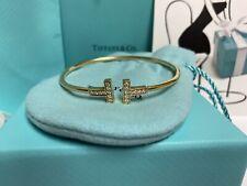 Tiffany & Company Diamond T-Wire 18k Yellow Gold Bracelet $3,800 retail