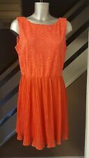 🐝Topshop Coral Lace And Pleated Skater Dress Size 14
