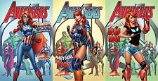 AVENGERS 8 J SCOTT CAMPBELL A B C 3 PACK MARY JANE VARIANT SET THOR IRON MAN CAP