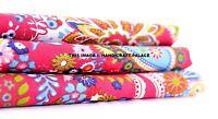 1/2.5/5 Yard Pink Paisely Print Handmade Cotton Indian Natural Sanganeri Fabric