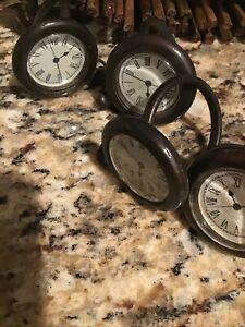 Vintage POTTERY BARN Napkin Rings Bronze Clocks Set