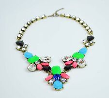 Fluorescent Color Acrylic Gem Stone and Rhinestone Inlaid Statement  Necklace