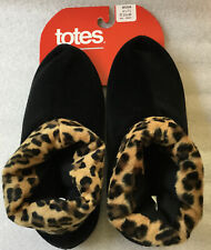 NWT Totes #60050 Black W/leopard Pull On House Shoes/Slippers Size Med 6.5-7.5