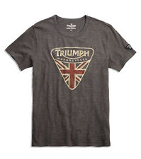 Lucky BRAND Triumph Motorcycle UK Flag Badge Logo Gray T-shirt Regular L