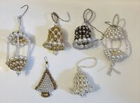 Vintage Hand Made Beaded Ornaments Lot of 6 Bells Hanging Basket Christmas Tree