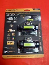Farpoint USB Rechargeable Headlamp Flashlight 350 Lumen Set Of 2 Black