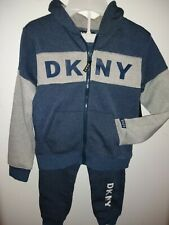 DKNY Boys 2PC Set Hoodie & Joger pants Sizes 4, 5, 6, 7 Yrs Multicolor Blue/Grey