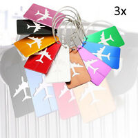 3XAluminum Alloy Luggage Tags Bag ID Name Address Labels Suitcase Travel Baggage