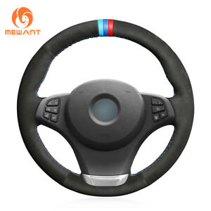 DIY Black Suede Steering Wheel Cover for BMW E83 X3 2003-2010 E53 X5 2004 G77