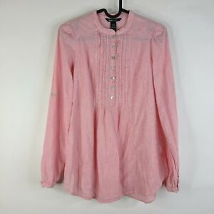 H&M Mama Pink Striped 1/4 Button Pleated Boho Peasant Long Sleeve Blouse Size XS