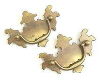 """Vtg 2"""" PAIR Brass Chippendale Style Drawer Pulls Architectural Salvage Hardware"""