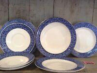 Vintage Royal Worecester  Plates & Bowl Chintzy Blue Floral Border~ Mid Century
