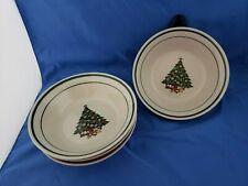 Stoneware Christmas Tree Presents Holiday CX331 Dishes Bowls Set of 4