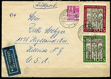 GERMANY LUBECK SET SCOTT#B316/17 657 AIRMAIL RATE ON 1951 AIRMAIL COVER TO NJ US