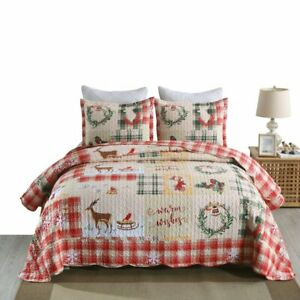 3 Piece Christmas Quilt Rustic Western Lodge Cabin Bedspread Quilt Set B021