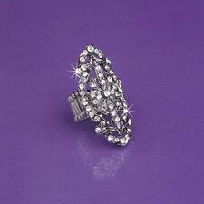 Victorian Filigree With Swarovski Crystal Stretch Ring NEW! Rhinestones Heirloom
