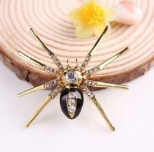 Tono Oro Grande Marrón Araña Broche Pin con cristales de diamante de imitación de diamante