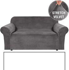 H.VERSAILTEX Gray Loveseat Sofa Cover Velvet Stretch 2 Cushion Couch Slipcover