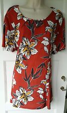 Ladies Plus Size Printed Floral Slinky Mock Necklace Women Tunic Size 22