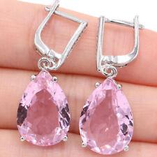 35x13mm Romantic 18x13mm Drop Shape Pink Kunzite White CZ Gift Silver Earrings