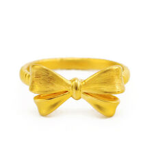 Authentic 999 24K Yellow Gold Ring 3D Bow Design Ring Band 1pcs Size: 5
