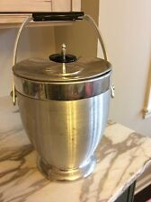 Mid Century Vintage Kromex Ice Bucket Aluminum Metal Ice Cube Bucket Large 12 in