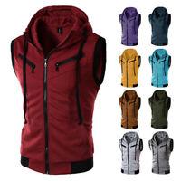 Men Summer Casual Sport Solid Tee Shirt Sleeveless Top Zipper Hooded Vest Blouse