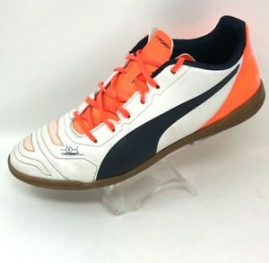 PUMA Mens 10 M Evo Power 4 Soccer Shoes Sneakers Orange White Lace Up Low Top