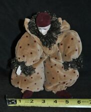 "Vintage Over Stuffed Polka Dot Clown with Bisque Women Face 10"" Tall"