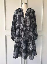 COUNTRY ROAD : 100 linen wrap button dress black SIZE: 10
