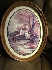 """Home Interiors Oval '' Young Lovers'' Picture Lady Man Bridge 13"""" X 17"""""""