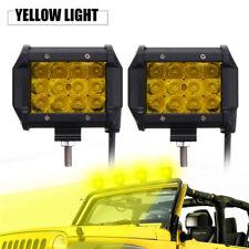 2x 4'' Gelb LED Auto Arbeitsscheinwerfer Bar Strahler Beam Offroad ATV Lampe