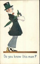 Fancy Man Top Hat & Umbrella Liquor Bottle in Back Pocket Alcoholism Postcard