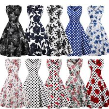 Plus Size Women 1950s 60s Vintage Retro Floral Rockabilly Party Prom Swing Dress