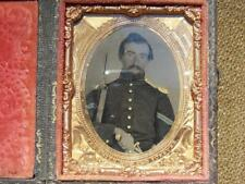"""Antique Civil War The Union Now And Forever Soldier Tintype 2 1/2 X 2 7/8"""" Case"""