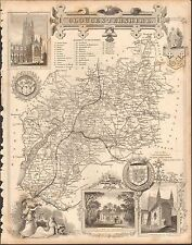 1850 Ca ANTIQUE COUNTY MAP-MOULE-GLOUCESTERSHIRE, TETBURY, NEWENT, CHELTENHAM