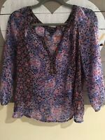 American Eagle Outfitters Women Sheer Floral  Blouse Top Small. Pink Blue. EUC