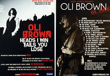 2 X OLI BROWN 2011 TOUR FLYERS CARDS - HEADS I WIN TAILS YOU LOSE