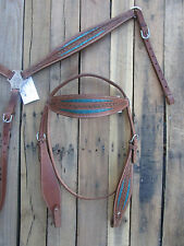 HEADSTALL BREASTCOLLAR SET BLUE SHOW PLEASURE LEATHER WESTERN HORSE BRIDLE TACK