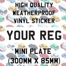 Front Mini Number Plate Vinyl Sticker Trailer Caravan Offroader Motorsport Show